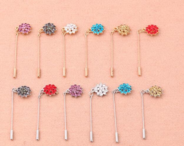 12 PCS Rhinestone Flower Muslim Hijab Pins Islamic Scarf Safety Pins Mixed Colors