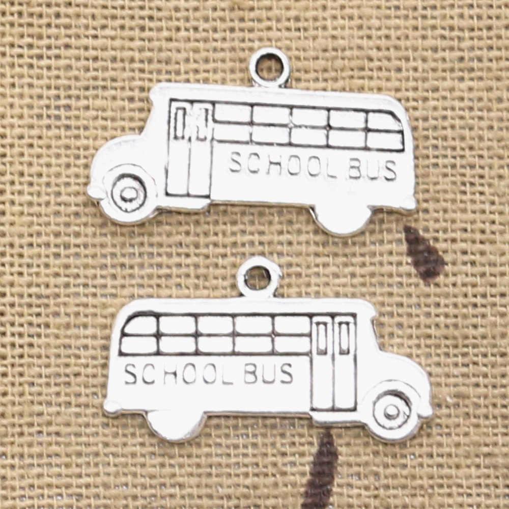 12 adet Charms okul otobüsü 13x23mm antik tibet gümüş renk kolye bulgular aksesuarları DIY Vintage gerdanlık el yapımı takı