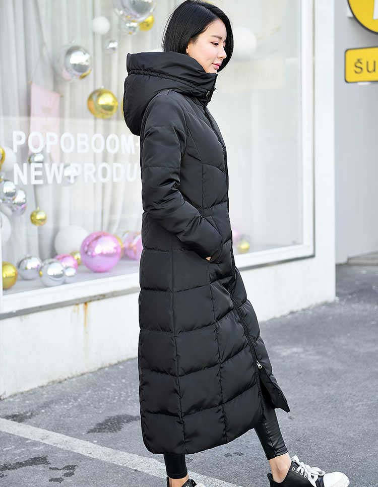 2018 women's winter duck   down     coat   ultra long maxi ankle length female puffer jackets clothing with hood hat black plus size xxl