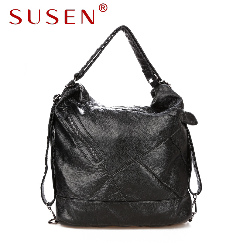 SUSEN 741 Women Casual Hobos Shoulder Bag Washed PU font b Leather b font Style for