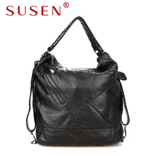 SUSEN 741 Women Casual Hobos Shoulder Bag Washed PU Leather Style for Lady Messenger Bags Designer Bag