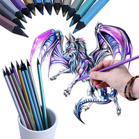 12 Colors Metallic Non-toxic Drawing Pencils Painting Sketching Pens Kids Gifts Office & School Supplies