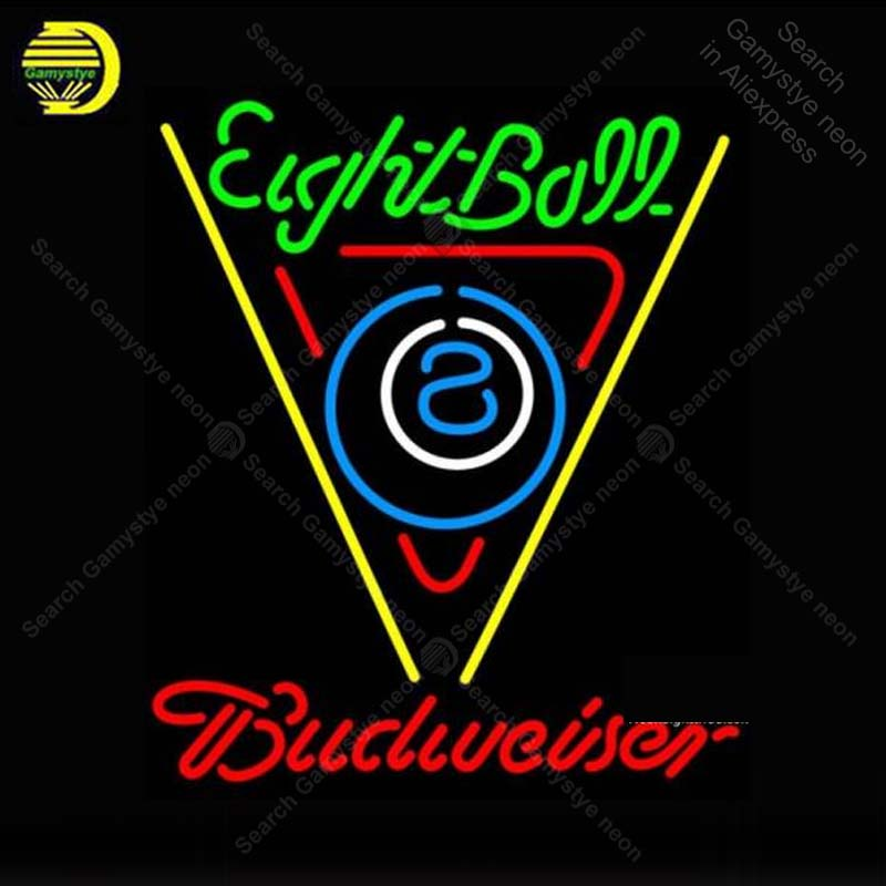 Neon Sign for Budweiser Neon Eight Ball Billiards Neon Bulb sign Beer Bar Pub Restaurant handcraft glass tube light Decor lamps