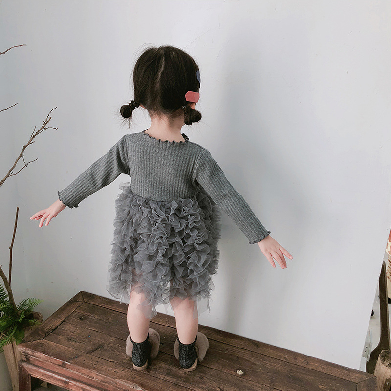 2019 Cotton Long Sleeve Knitted Kids Dresses For Girls Toddler Clothing Baby Girl Drees Tulle Patchwork Grey Pink White Spring 28