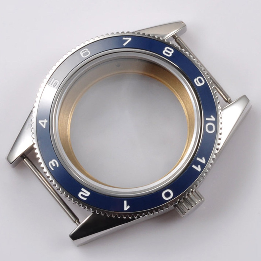 41mm Blue Ceramic Bezel Artificial Synthesis Sapphire Glass Watch Case Fit ETA 2824 2836 Movement цена