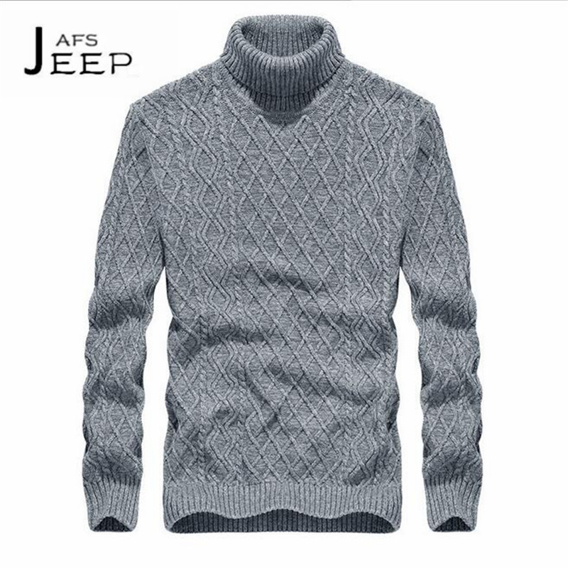 JI PU 2017 Autumn/Winter Turtleneck Solid Cotton Males Sweater,Full Sleeve Fashion Design College Male Knotted Pullover wear