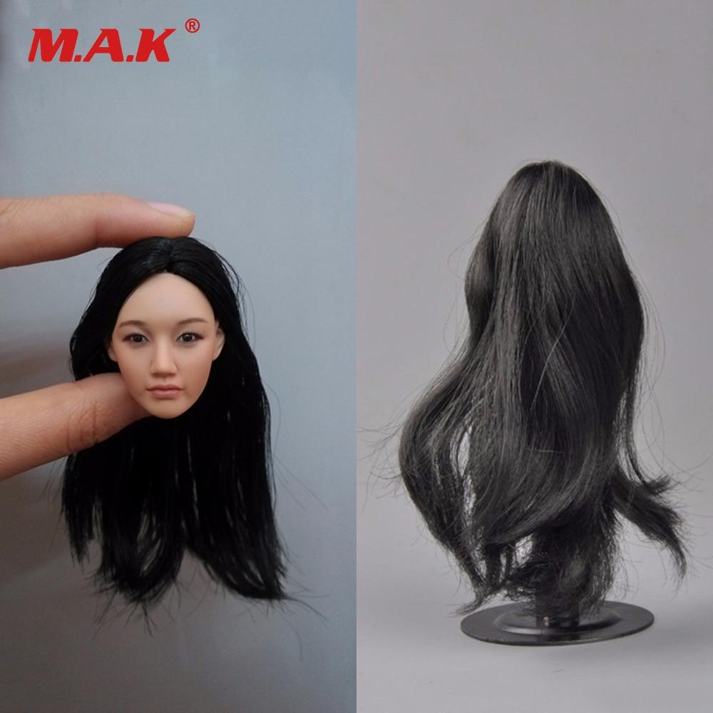 """KUMIK KM18-31 1//6 Female Head Sculpt LONG BLACK HAIR For 12/"""" PHICEN Figure Doll"""