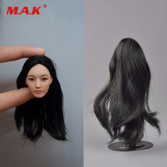 1:6 Scale Black Long Hair Head Sculpt KM-38 Headplay Figure Head Model for 12'' Action Figure Collection Doll Toys Gift