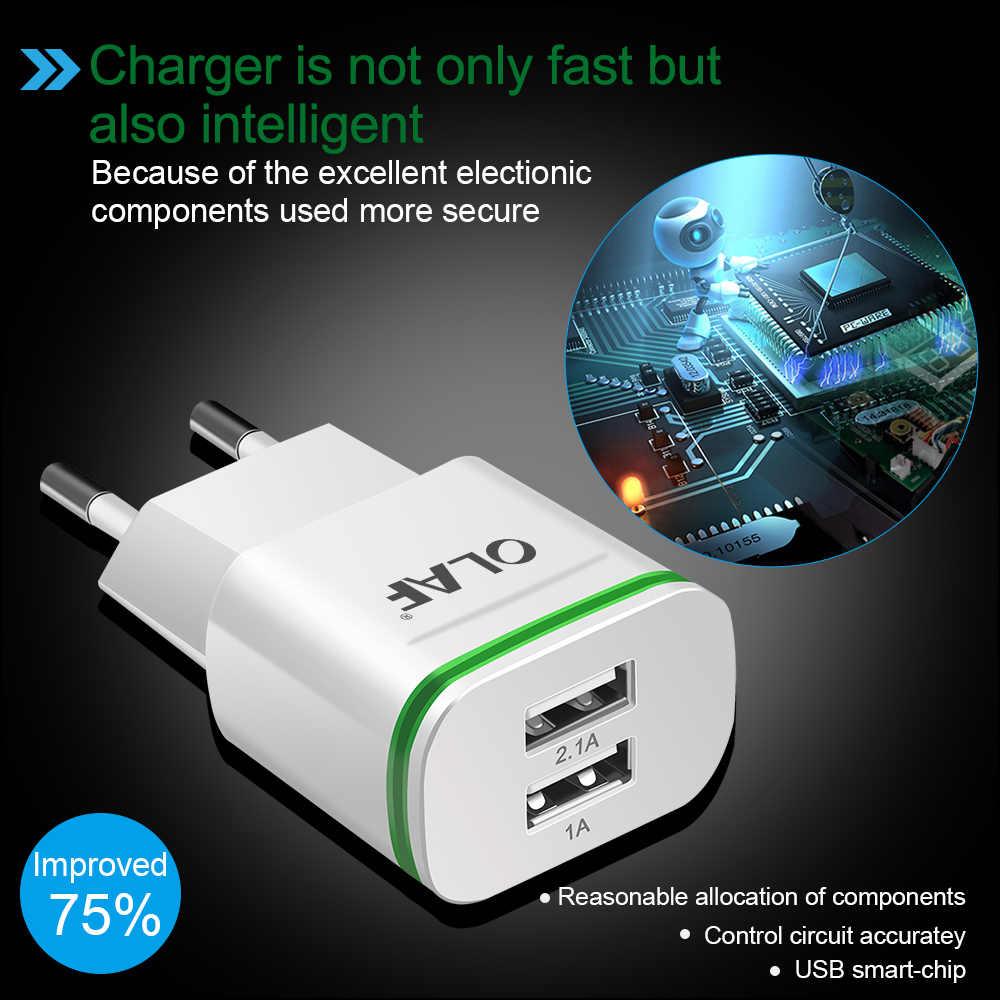 Olaf ue wtyczka 2 porty LED podświetlana ładowarka USB 5V 2A ładowarka do telefonu komórkowego Micro USBtyp C kabel ładowania do Samsung Xiaomi