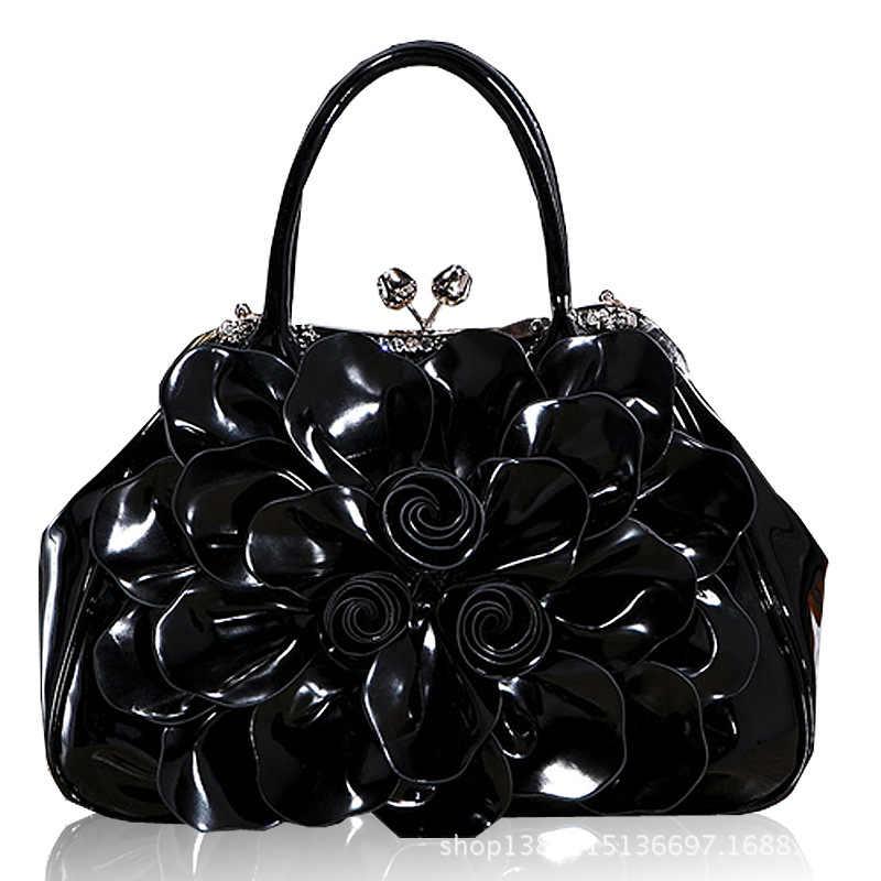 75c1e8c74725 ... 9162C новые модные женские туфли сумка Diomonds лак кожа форме цветка  сумка пригородных цветок невесты сумочку ...