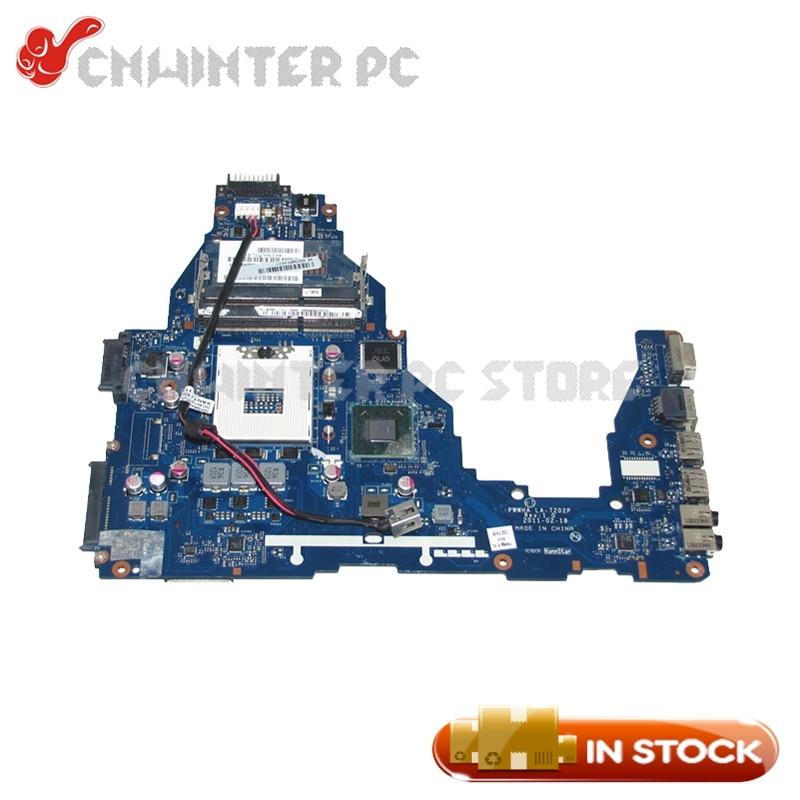 NOKOTION K000124370 LA-7202P For Toshiba Satellite C660 Laptop Motherboard HM65 GMA HD3000 DDR3 laptop motherboard for lenovo ideapad b570 z570 11s11013533 48 4pa01 021 hm65 gma hd3000 ddr3