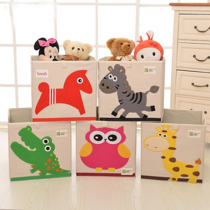 Big size 33cm HouseholdFolding Cute 3D Embroider Cartoon organizer home Storage Box Organic Cotton Toy/ Sundries Storage barrel