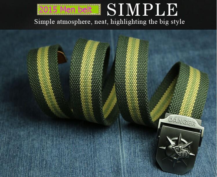 Fashion men's Canvas belt skull Metal tactics woven belt canvas belt Casual pants Cool wild gift for men belts Skull large size 4