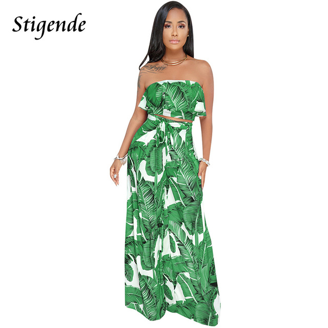 Stigende Women 2 Piece Set Summer Strapless Crop Top And Pants Two Piece Outfits Palm Leaf Print Ruffles Wide Leg Boho Jumpsuit by Stigende