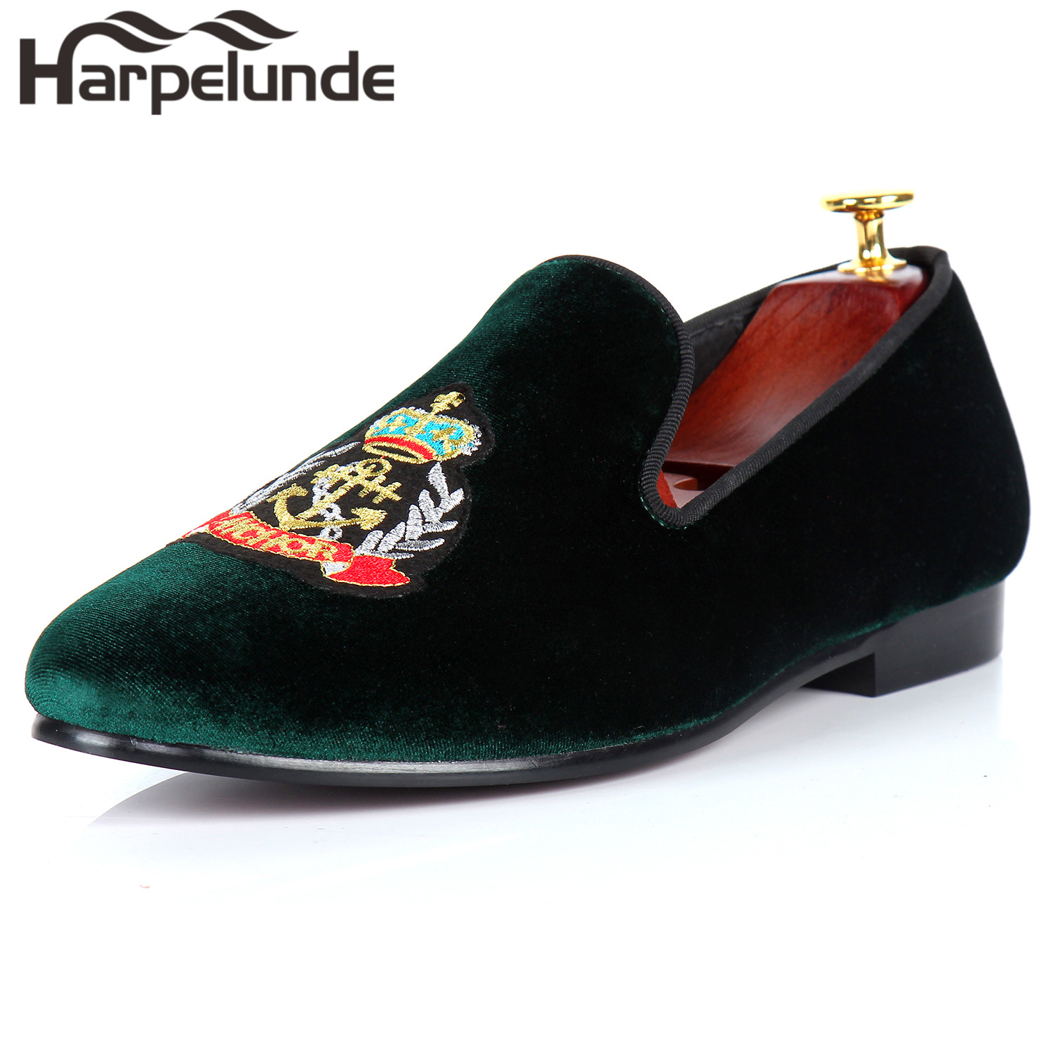 цены Harpelunde Anchor Embroidery Men Dress Loafer Shoes Green Velvet Slippers Size 6-14