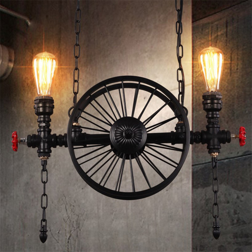 Loft vintage Creative Pendant Lights Personality Retro Restaurant/Bar Lamps American Industrial Wheel Pendant lamp 1 head