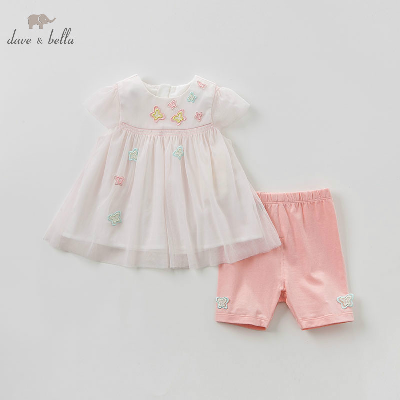 Dave bella summer baby girl clothing sets children lovely print suits toddler infant high quality clothes