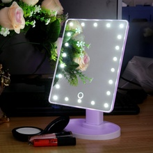 360 Degree Rotation Touch Screen Make Up LED Mirror Folding Portable Compact Pocket With 16 LED Lights Makeup Mirror New