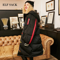 ELF SACK New Winter Woman Coat Jackets 90% White Duck Down Hooded Jackets Long Sleeve Warm Slim Casual Female Solid Jackets Coat