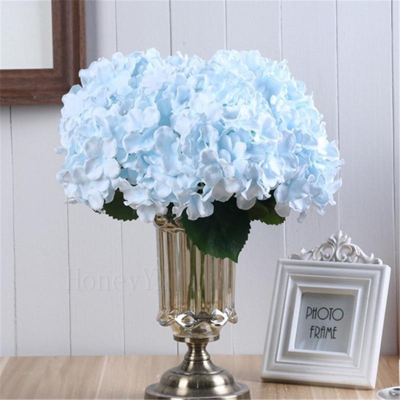 5 Heads Light Blue Artificial Flower Hydrangea Bridal Bouquet Silk