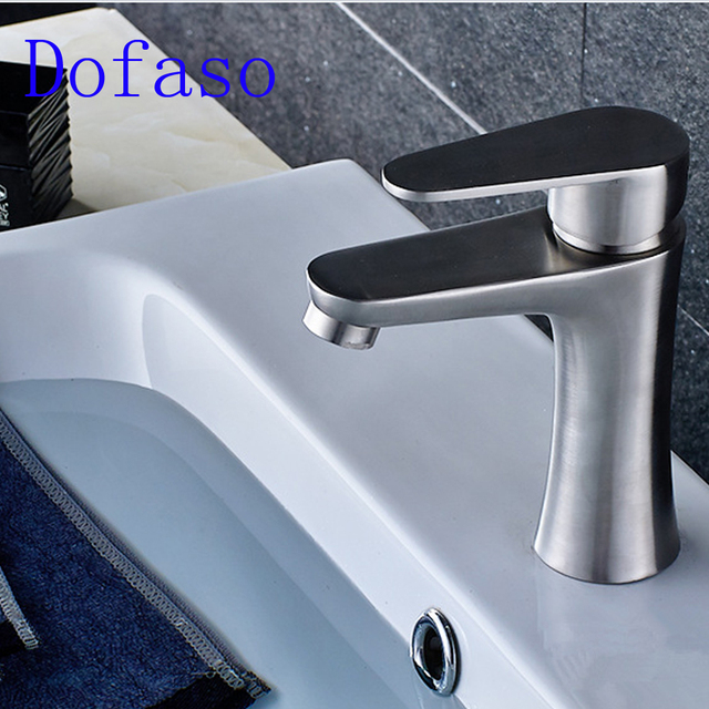 Dofaso Drawing Faucet Bathroom Basin Faucets Hot Cold Water Mixer Pure Tap  304 Stainless Steel Kitchen