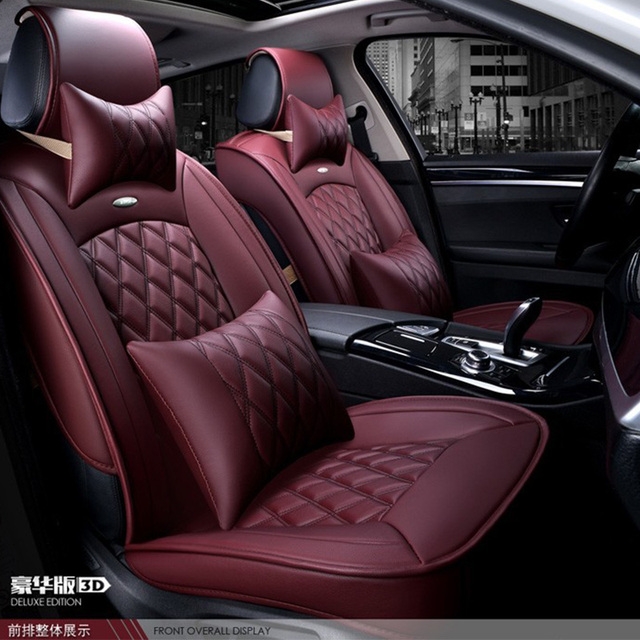 For Ford Focus Fiesta Kuga Fusion Black Coffee Brand Luxury Car Soft Leather Seat Cover Front Rear Complete Set Covers
