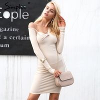 Simplee Autumn One Shoulder Bodycon Sexy Dress Women Long Sleeve Elastic White Dresses Winter Evening Club
