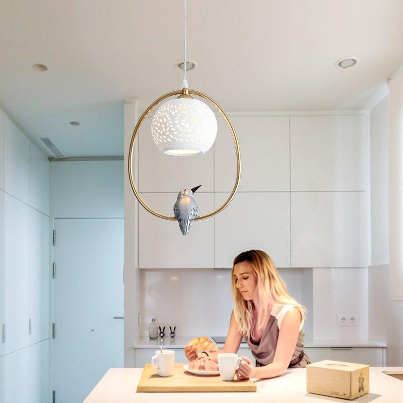 Moderne led Verre Pendentif Lumière Nordique Salle À Manger Cuisine Lumière oiseau Designer Suspendus Lampes Décor À La Maison Avize Lustre Éclairage E27