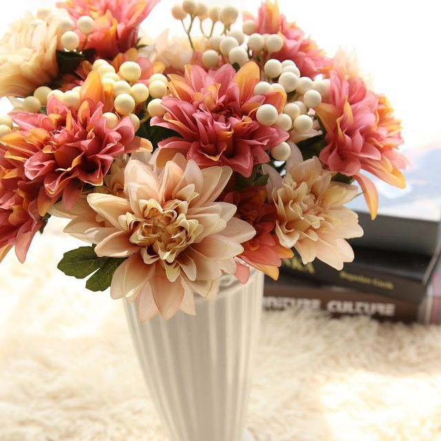 Artificial Dahlia Flower Silk Flowers With Artificial Berry ...