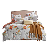 Beautiful Fresh Rust Red Roses Elegant Warm Bedding Set Duvet Cover Sheet Pillow Case 100% Cotton 2 size L/XL 4 Pcs/set