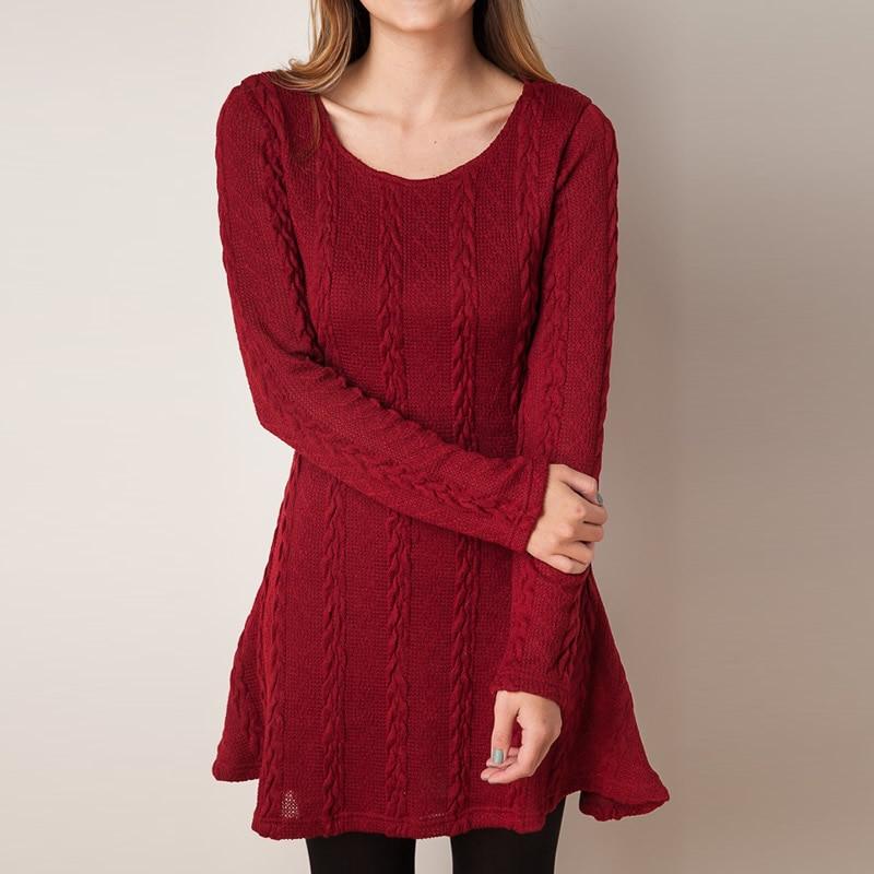 eb12f561c Nuevo 2017 vestido de mujer Otoño Invierno de lana Vestidos de punto de manga  larga recto mini vestido Casual suelto vino rojo Vestidos en Vestidos de La  ...