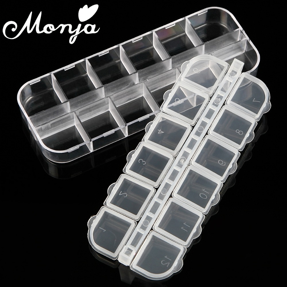 Monja 12 Grids Nail Art Storage Case Rhinestones Beads Gems Jewelry Accessories Clear Plastic Empty Container Organizer Box