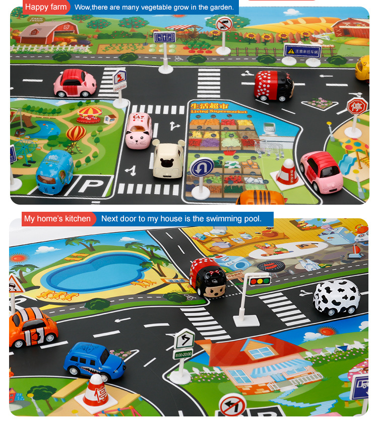 HTB1u67Vh4SYBuNjSsphq6zGvVXak 39Pcs City Map Car Toys Model Crawling Mat Game Pad for Children Interactive Play House Toys (28Pc Road Sign+10Pc Car+1Pc Map)