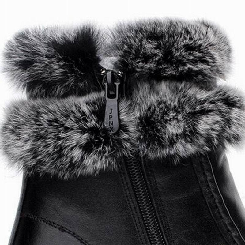Femmes De Peluche Bottes 2018 Fourrure Cuir Timetang Véritable Neige Zapatos Zip Cheville Mujer Noir Peau En Vache Lapin D'hiver P8Cwqw5