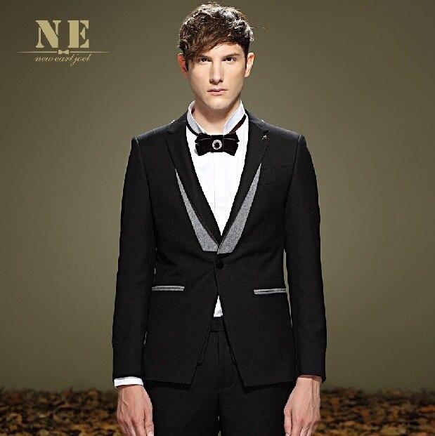 ЭРЛ ДЖОЭЛ высокое качество 2015 мужчин черный super slim одной кнопка формальное ретро бизнес свадьба жених костюмы пиджаки 3xl костюм куртка