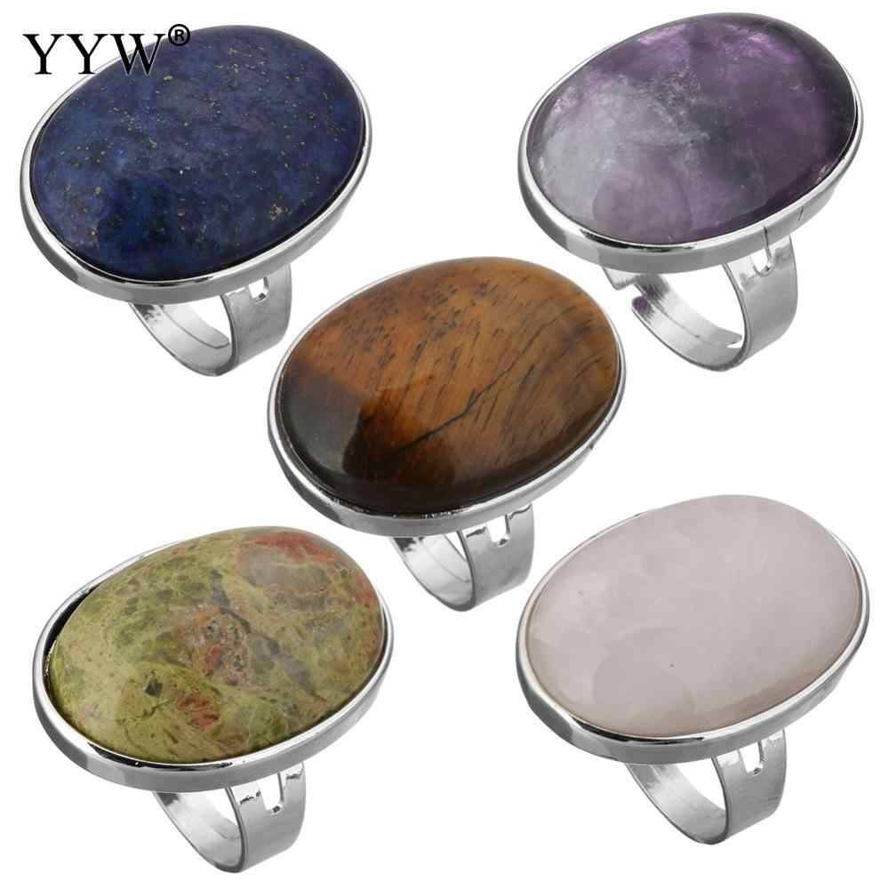 YYW Punk รูปไข่เรขาคณิตผู้หญิงผู้ชาย Unisex แหวนนิ้วมือธรรมชาติ Tiger Eye Clear Lapis Lazuli โอปอล Rose หิน Full แหวนกลาง