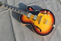 Custom hollow body jazz electric guitar, vaulted guitar transparent 3ts color, maple fire back and side body