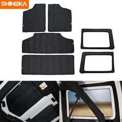 SHINEKA Heat Insulation Cotton Pad Hardtop Headliner Roof and Rear Window Insulation Kit 2012-2017 for Jeep Wrangler JK 4 Door