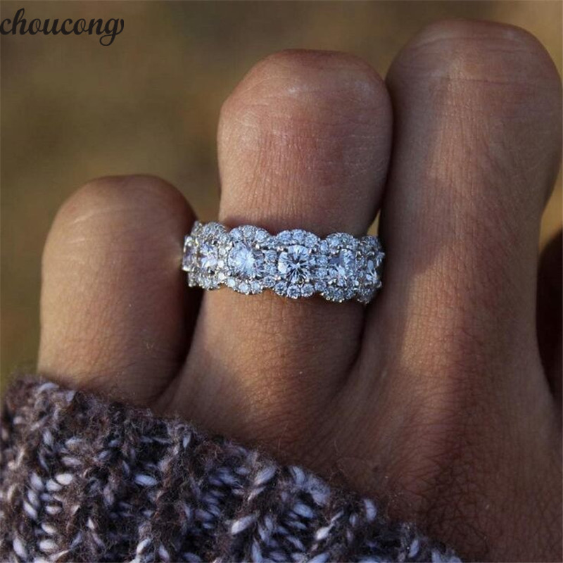 Choucong 2019 Statement Promise Ring 925 Sterling Silver AAAAA Zircon Cz Engagement Wedding Band Rings For Women Party Jewelry