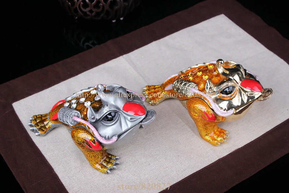 2ed75ef039a Money Frogs Trinket Box Metal Frog Home Decor Display Feng Shui Money Frog   Money Toad Attract ...