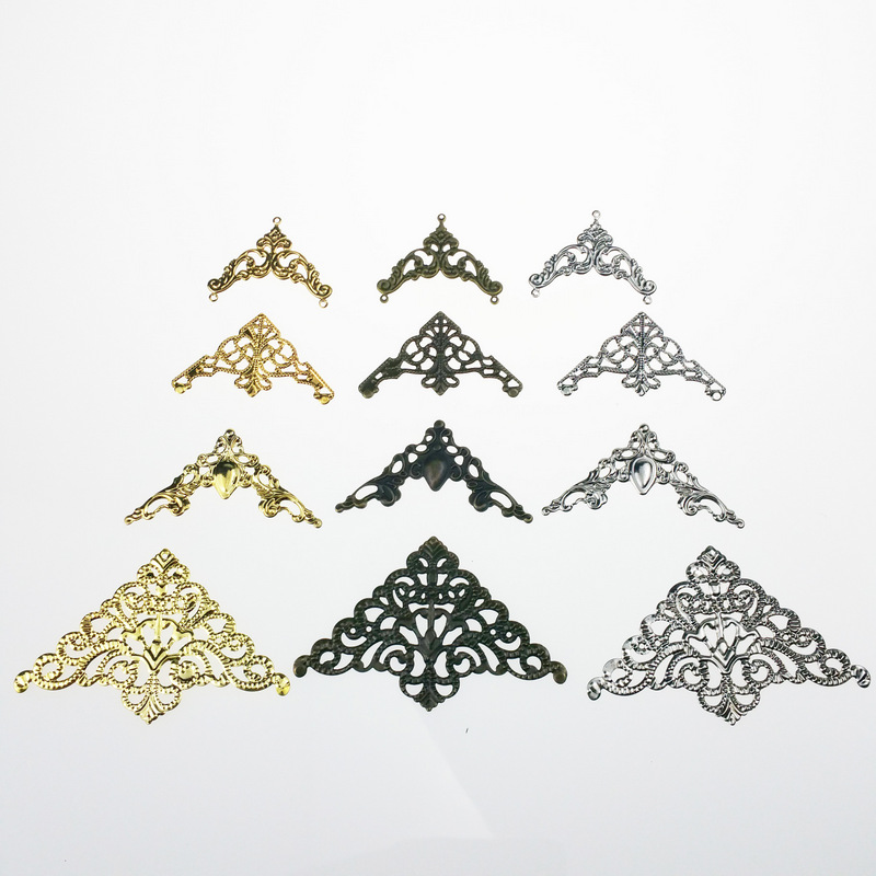 20pcs/lot Gold color/Antique bronze/rhodium Metal Filigree Flowers Slice Charms base Setting Jewelry DIY Components