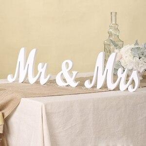 Image 5 - Houten Bruiloft Decoratie Letters Alfabet Woord Mr & Mrs Vrijstaande Wedding Party Decoratie Vintage Tafel Centrepie Decor
