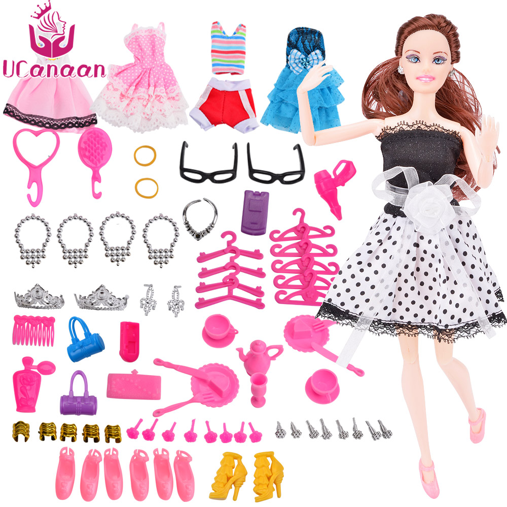 UCanaan DIY Princess Beauty Doll with 5 Clothes& Accessories Girls Dolls Toys for Children Best Friend Play with Baby Best Gift 18 american girl dolls princess dolls toys for girls children birthday gift 45cm girls doll with clothes and headdress