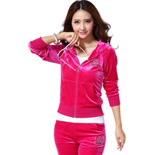 Fall and Winter Clothes New Three-piece Diamond Gold Velvet Hooded Sports Leisure Suit Female Sweater