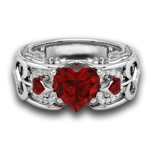 New Fashion Silver Natural Birthstone Bride Wedding Engagement Heart Ring Delica