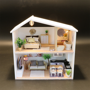 DIY Miniature Dollhouse Doll House Furniture Dust Cover 3D Wooden Miniaturas Dollhouse Toys for Children