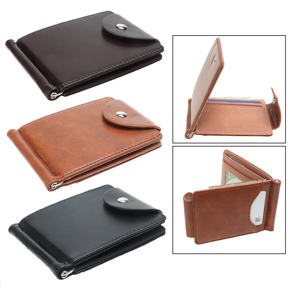 Men PU Leather Short Wallets Buckle Coin Bag Zipper Small ID Credit Money Purses Design Slim Purse Money Clip