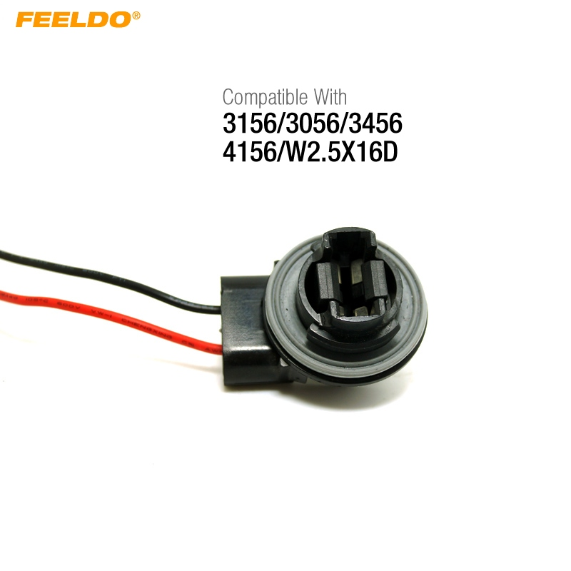 T25 3156 3456 LED Bulb Socket Plug Brake Turn Signal Harness Wire Pig Tail