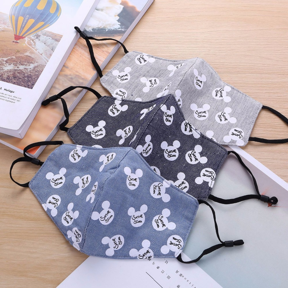 5pcs/Bags Summer Autumn New Mask Fresh Cartoon Printing Flax Comfortable Dustproof Sunscreen Breathable Fashion Masks