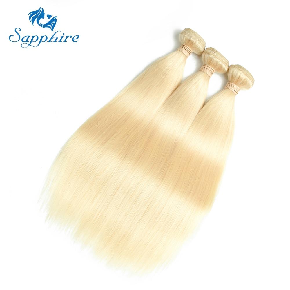 Sapphire Brazilian Hair Weave Bundles 613 Blonde Bundles With Frontal 613 Straight Human Hair Bundles With Closure 13*4 Frontal